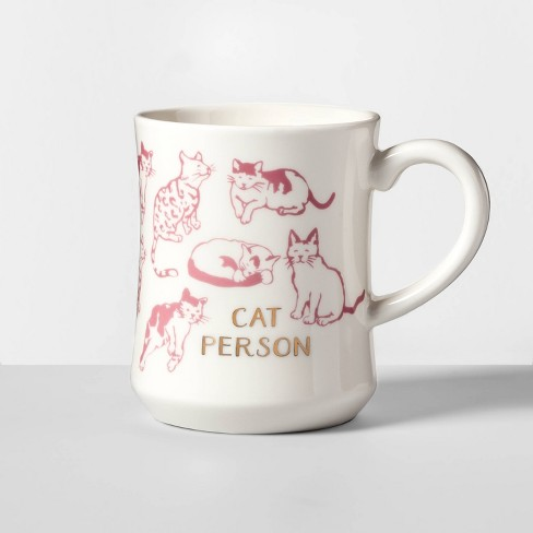 15oz Stoneware Cat Person Diner Mug White Opalhouse Target