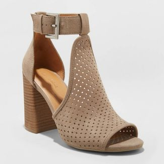Women's Hannah Microsuede Perforated Block Heel Pumps - Universal Thread™ Taupe 6