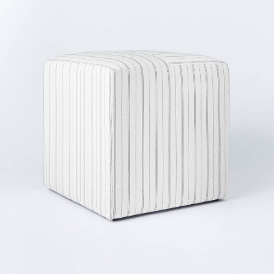 Lynwood Square Upholstered Wide Cube Stripe White - Threshold™ designed with Studio McGee