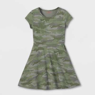 Girls' Printed Short Sleeve 100% Cotton Knit Dress - Cat & Jack™