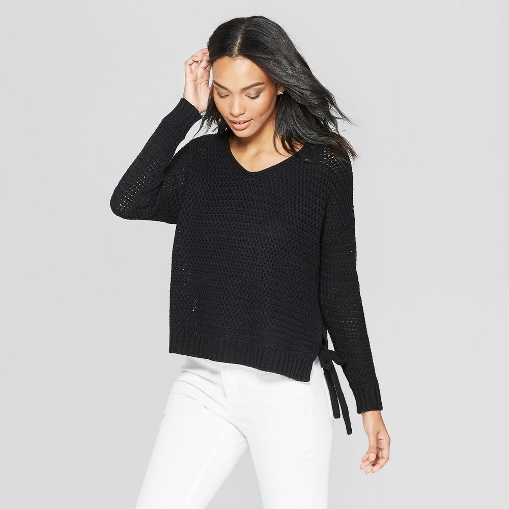 Women's Long Sleeve V-Neck Side Tie Tunic Sweater - Universal Thread Black XS