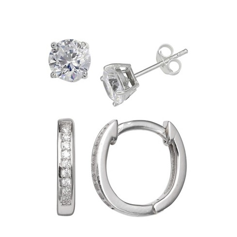 Women's Set of Stud and Huggie Hoop Earrings with Clear Cubic Zirconia in Sterling Silver - Silver (12mm) - image 1 of 1