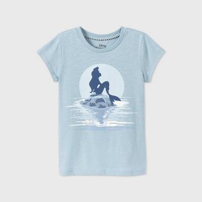 Girls' Disney The Little Mermaid Short Sleeve Graphic T-Shirt - Blue - Disney Store