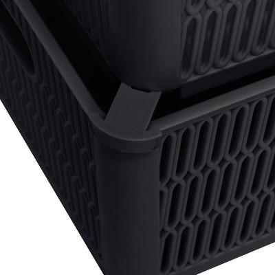 Simplify 2 Stack Slide Storage Tote Baskets Black
