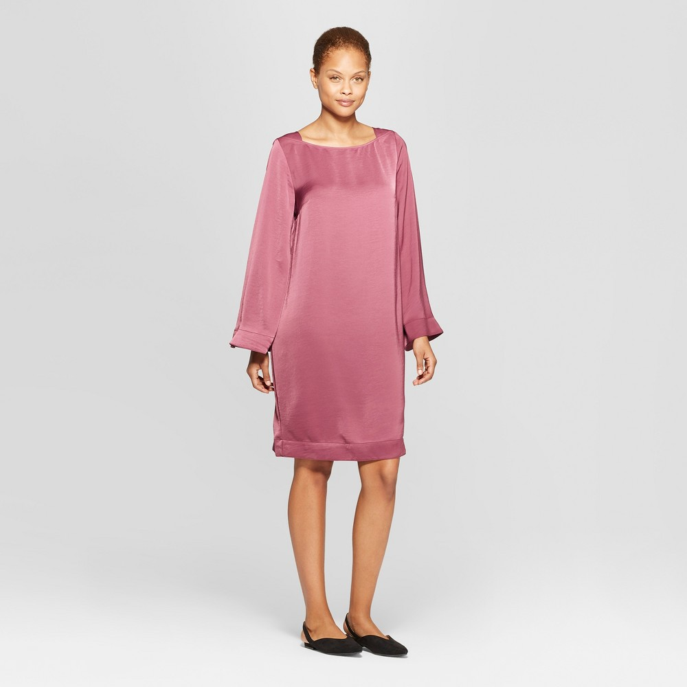 Women's Long Sleeve Square Neck Wide Sleeve Shift Dress - Prologue Botanical Rose L