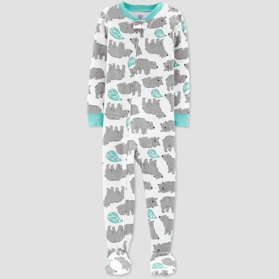 Toddler Boys' Bear Printed Footed Sleepers - Just One You® made by carter's Off White 2T