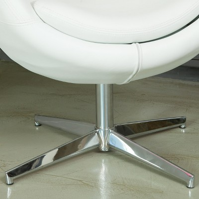 Modern Leather Roundback Chair White - Christopher Knight Home : Target