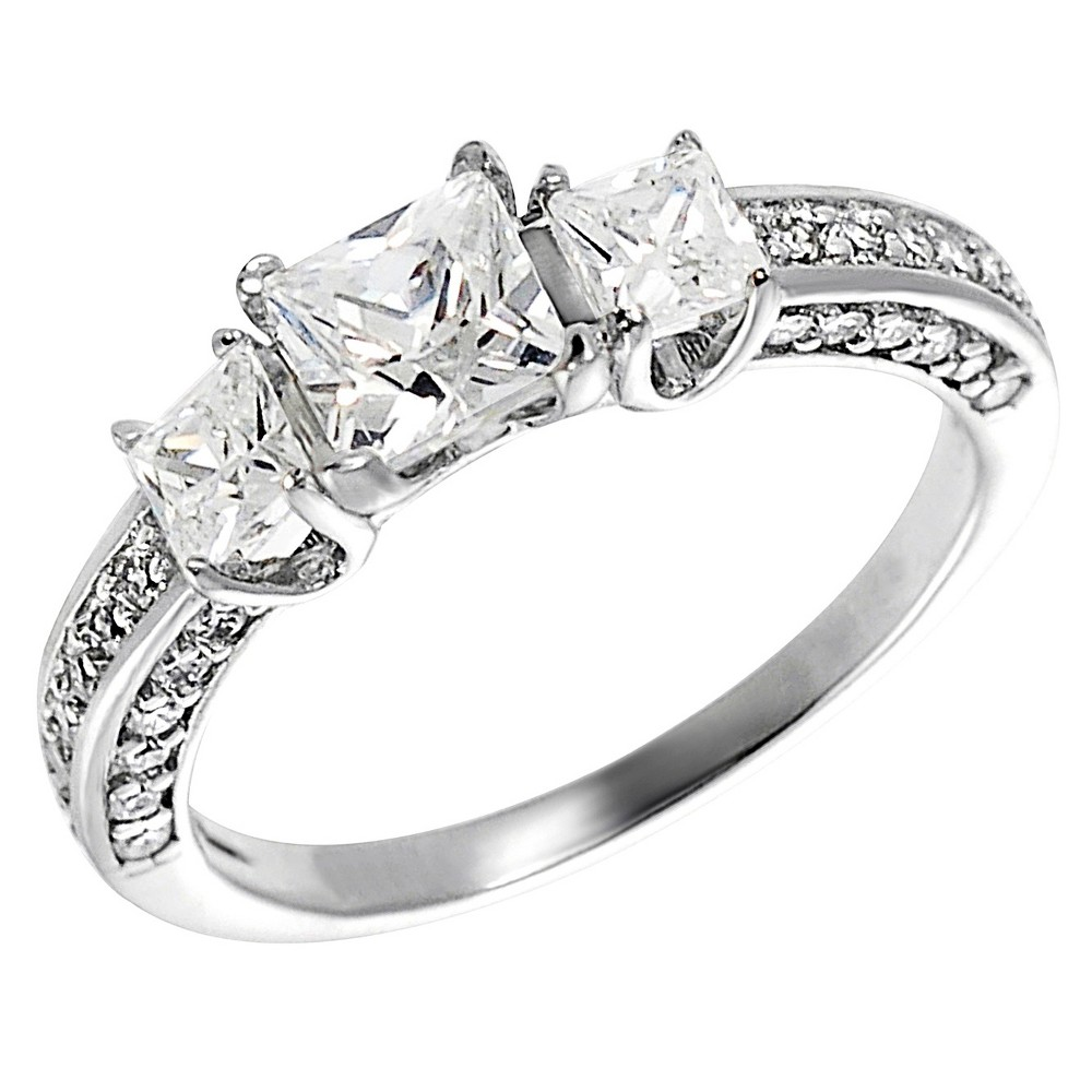 Women's Tressa Collection Sterling Silver Square Cut CZ Prong Set Bridal Style Ring - Silver (5)