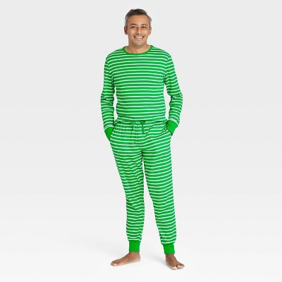 Men's Striped 100% Cotton Matching Family Pajama Set - Green