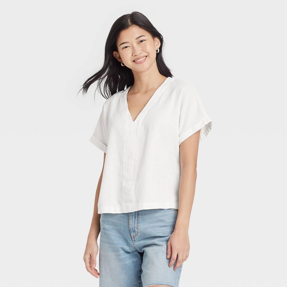 Women 39 S Short Sleeve Blouse Universal Thread 8482 White L