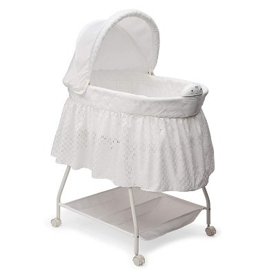 Delta Children Infant Deluxe Sweet Beginnings Bedside Covered Bassinet for Baby with Nightlight and Music, Turtle Dove