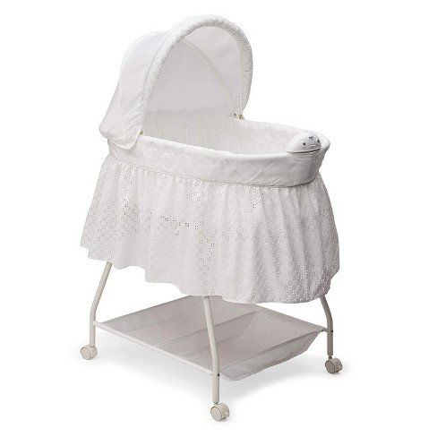Delta Children Infant Deluxe Sweet Beginnings Bedside Covered Bassinet for Baby with Nightlight and Music, Turtle Dove - image 1 of 4