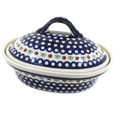 Blue Rose Polish Pottery Nature Roaster with Lid