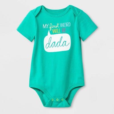 Baby Girls'  First Word Dada  Lap Shoulder Jersey Bodysuit - Cat & Jack™ Green 0-3M
