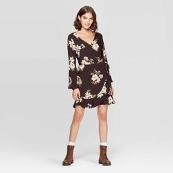 Women's Floral Print V-Neck Long Sleeve Wrap Mini Dress - Xhilaration™ Black