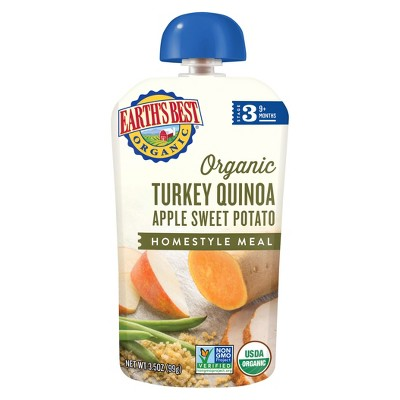 Earth's Best Organic Turkey Quinoa Apple Sweet Potato Homestyle Baby Meals Pouch - 3.5oz