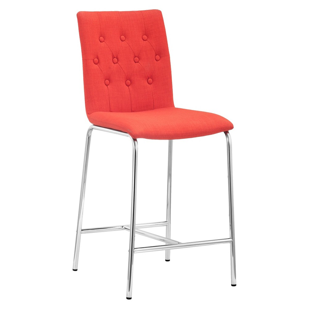 Modern Tufted 24 Counter Chair - Tangerine (Orange) (Set of 2) - ZM Home