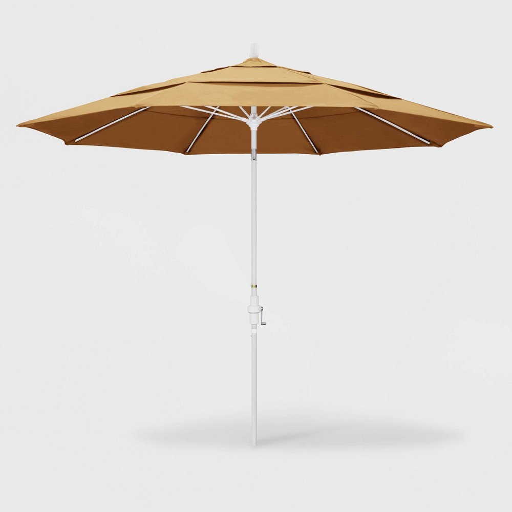 11' Sun Master Patio Umbrella Collar Tilt Crank Lift - Sunbrella Wheat - California Umbrella