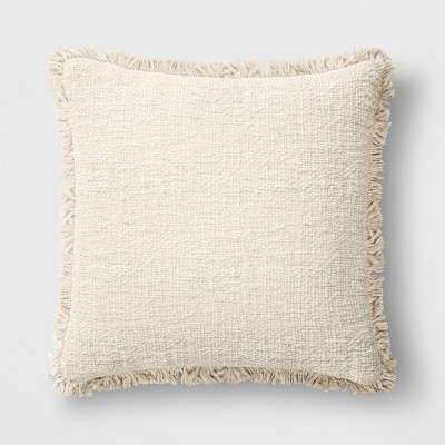 "24""x24"" Oversize Square Throw Pillow with Fringe Cream - Threshold™"