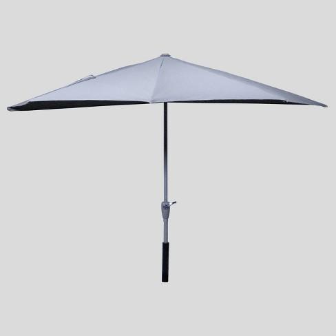 9' x 4' Half Moon Patio Umbrella Ash Pole - Project 62™ - image 1 of 3