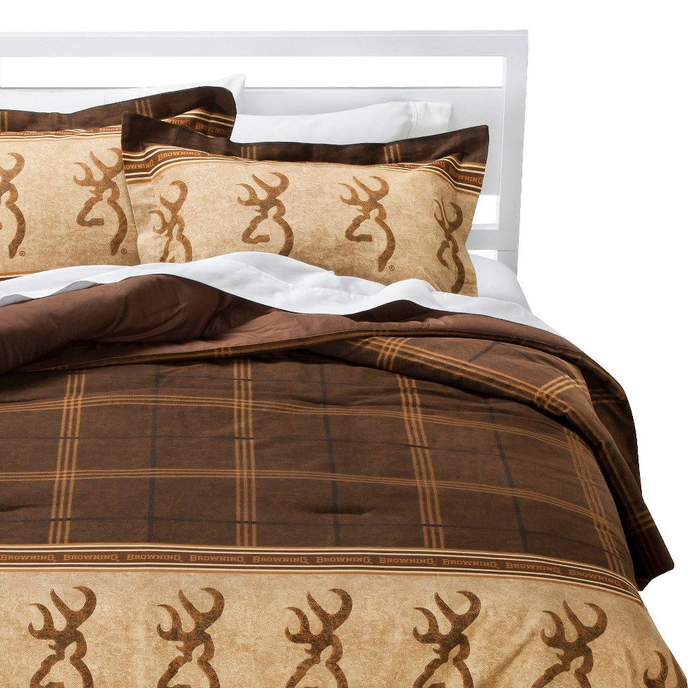 Image of Brown Buckmark Logo Plaid Comforter Set 2 Piece (Twin) - Browning