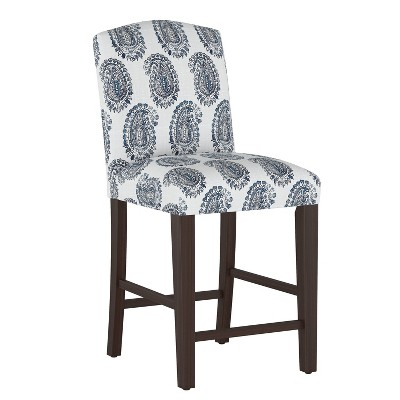 Camel Back Counter Height Barstool Block Paisley Navy - Skyline Furniture