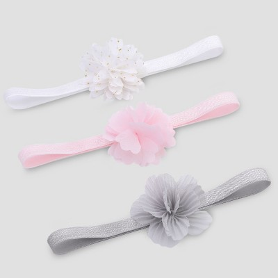 Baby Girls' 3pk Plumes Headwrap - Just One You® made by carter's Pink/Gray