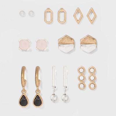 Geo Shape and Semi-Precious Stone Multi Earring Set 8ct - Universal Thread™