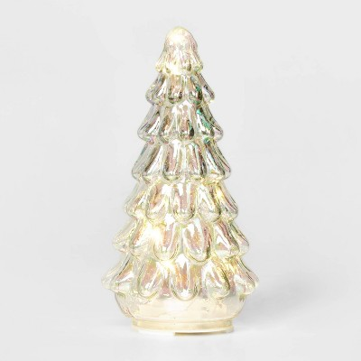 Small LIT Iridescent Mercury Glass Christmas Tree Decorative Figurine - Wondershop™