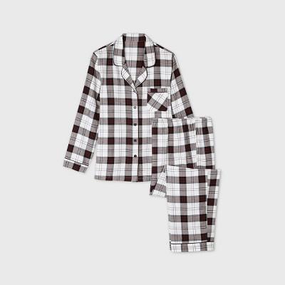 Women's Plus Size Holiday Plaid Flannel Matching Family Pajama Set - Wondershop™ White 1X