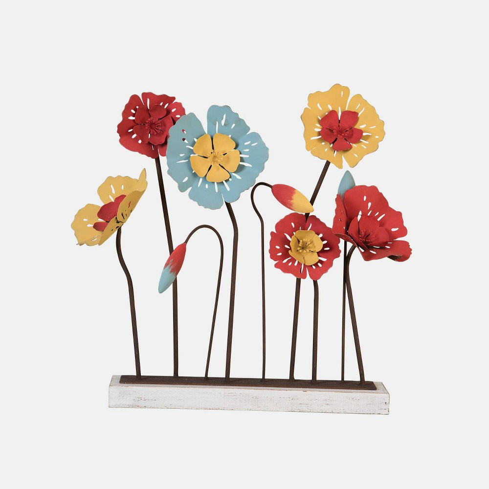 20 Wood/Metal Funky Flowers - Foreside Home & Garden, Multi-Colored