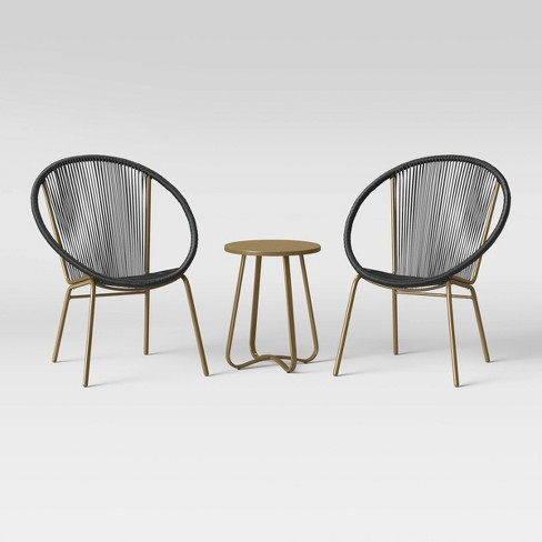 Fisher 3pc Disc Chair Small Space Set - Black/Gold - Project 62™ - image 1 of 4