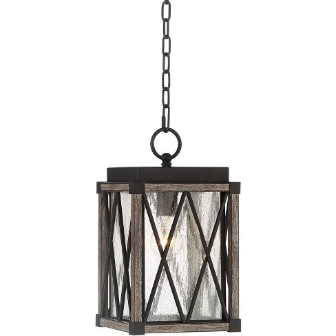 """Possini Euro Design Rustic Outdoor Ceiling Light Hanging Bronze Wood 14 1/2"""" Clear Seedy Glass Lantern Exterior House Porch Patio - image 1 of 4"""
