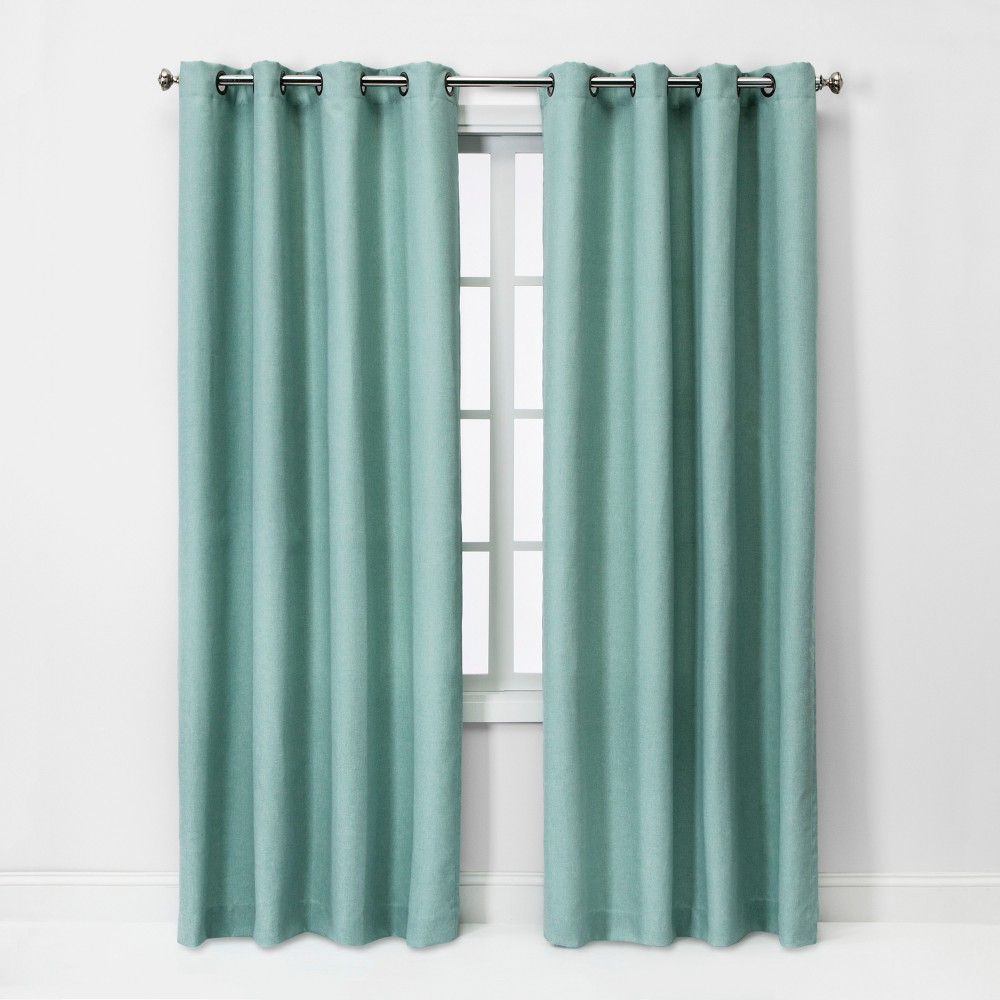 95x54 Solid Light Filtering Curtain Panel Aqua - Threshold was $34.99 now $17.49 (50.0% off)