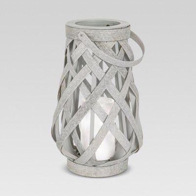Rattan Lantern Battery Operated Gray Small - Threshold™