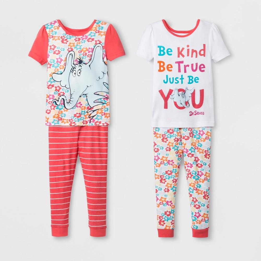 Toddler Girls' Dr. Seuss Horton 4pc Short Sleeve Pajama Set - Coral 2T, Pink