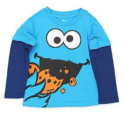 Sesame Street Boy's Faux Layered Long Sleeve Crewneck Graphic Tee for Infants