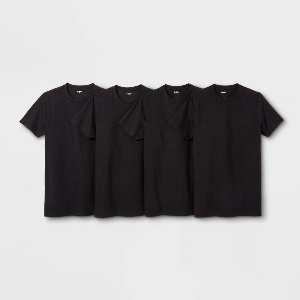 ad669f9ee6432 Mens Short Sleeve 4pk Crew Neck T Shirt Goodfellow Co Black S