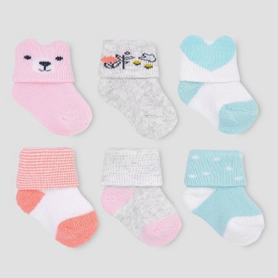 Baby Girls' 6pk Socks - Just One You® made by carter's 0-3M