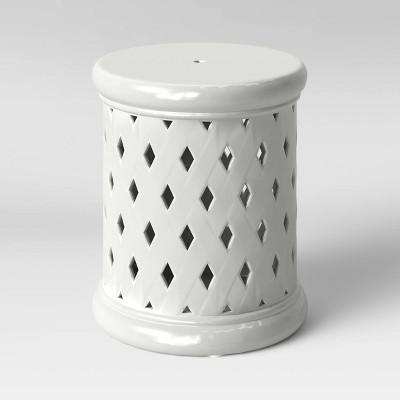 Ceramic Lattice Patio Accent Table - White - Threshold™
