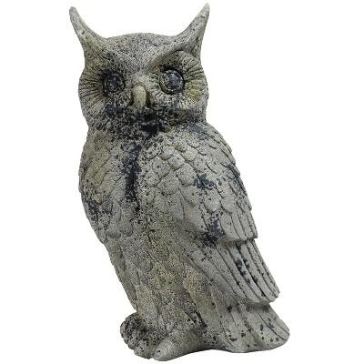 """Sunnydaze Outdoor Polystone Great Horned Owl Decorative Garden Landscape Patio Statue Figurine - 14"""" - Gray"""