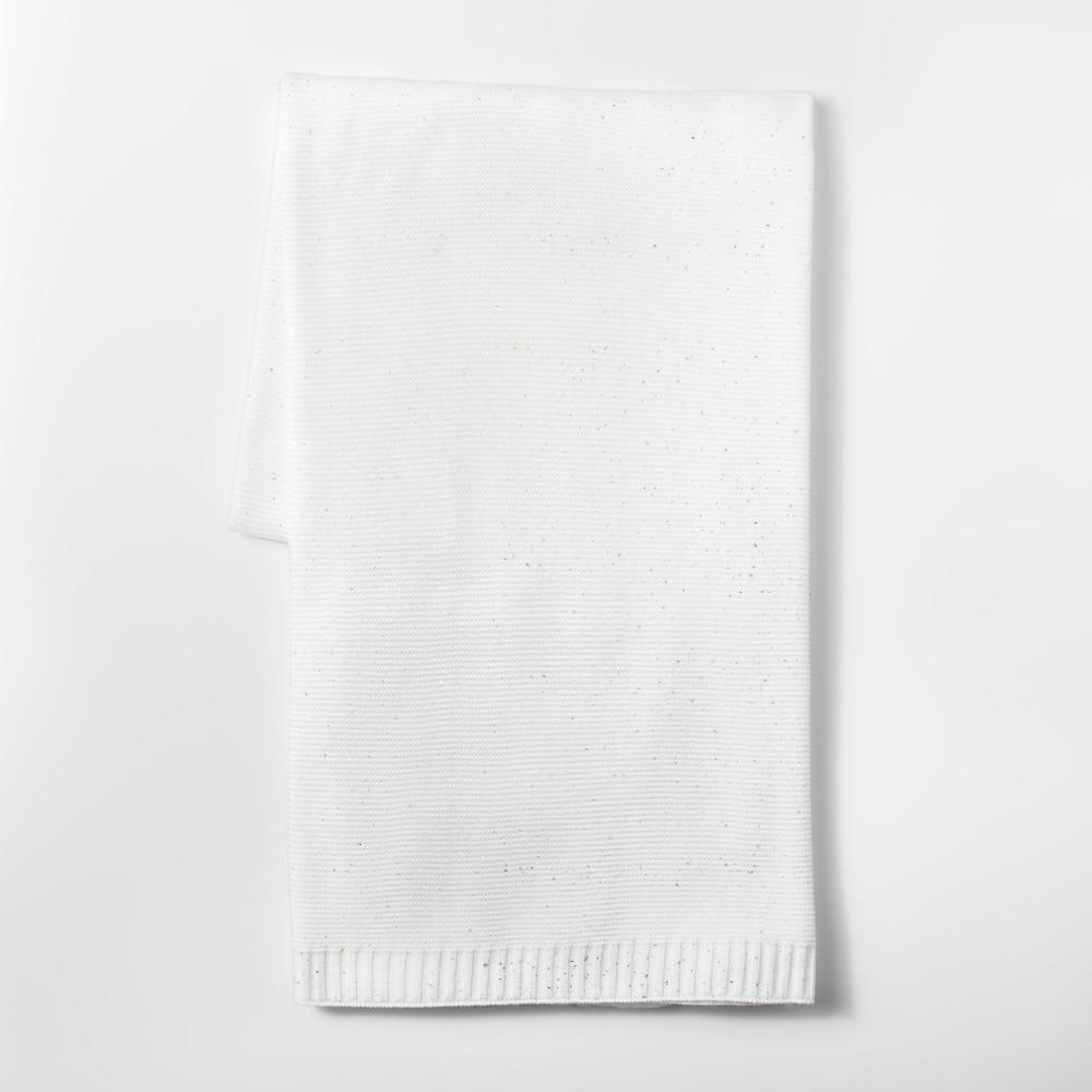 Metallic Knit Throw Pillow Cream - Threshold