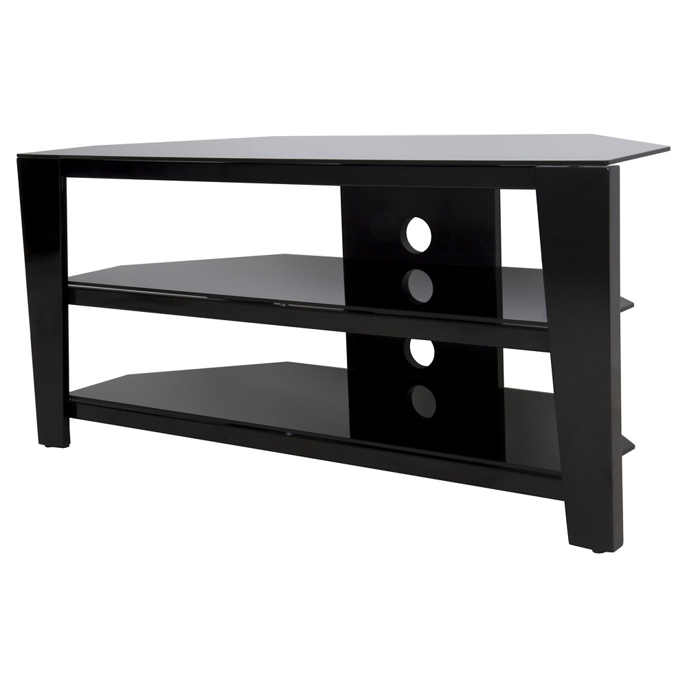 "Image of ""55"""" TV Stand with Glass Shelves - Black"""