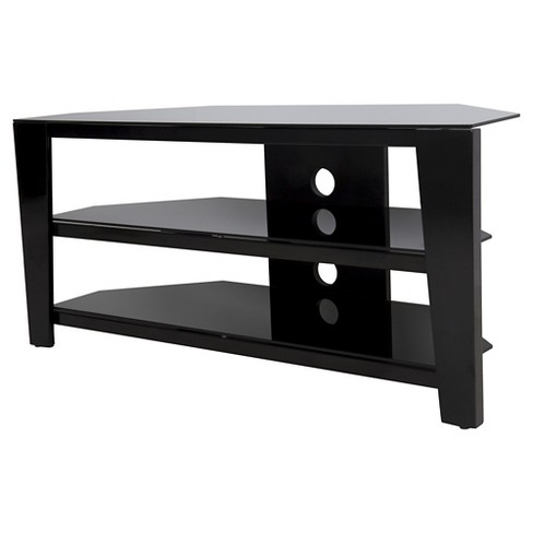 """55"""" TV Stand with Glass Shelves - Black - image 1 of 4"""