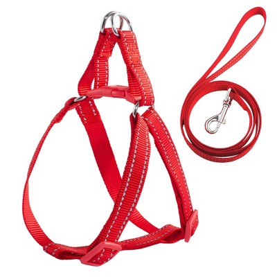 No Pull Nylon Dog Cat Harness & Leash Set Reflective Adjustable, Red