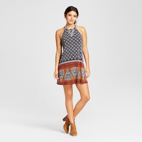 79020f03828 Women s Strappy High Neck Shift Dress - Xhilaration™ (Juniors )   Target