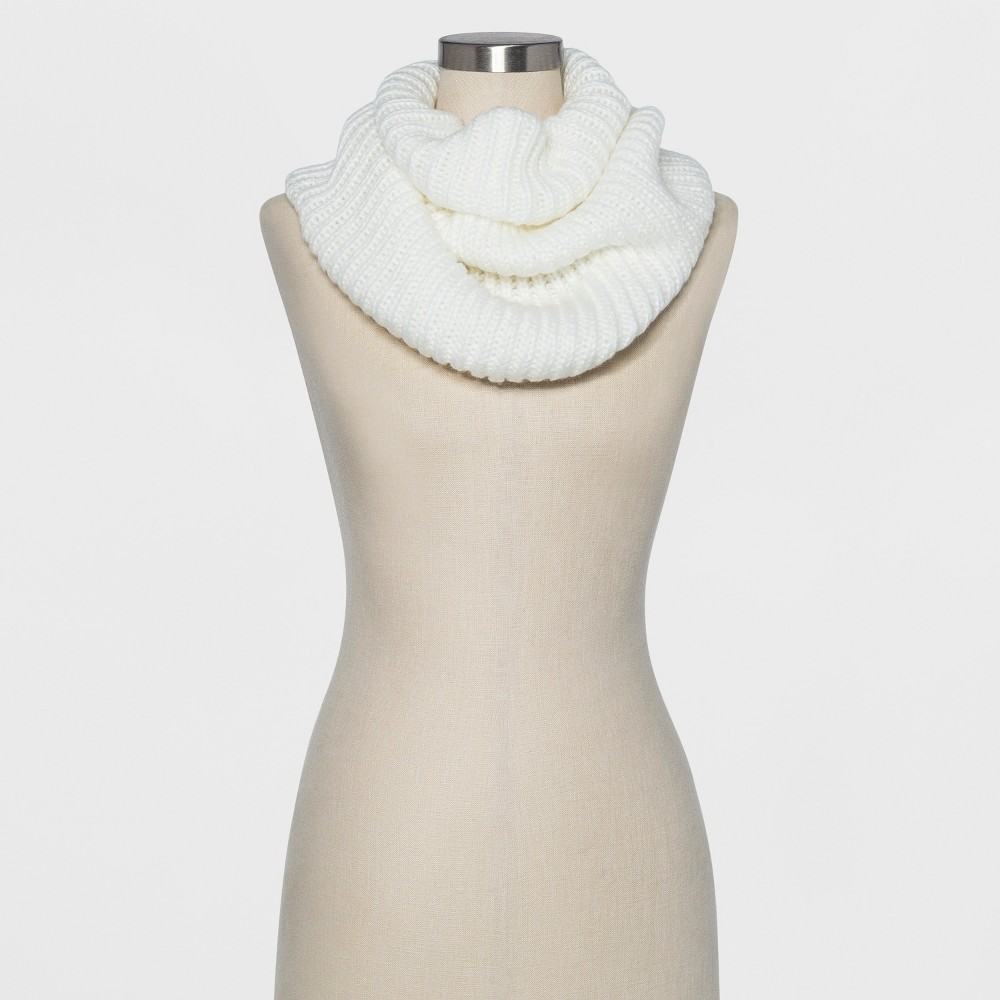 Women's Ribbed Infinity Scarf - A New Day Cream (Ivory)