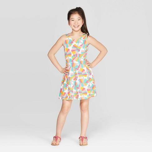 Girls' Tropical Print Tank Knit Dress - Cat & Jack™ Peach - image 1 of 3
