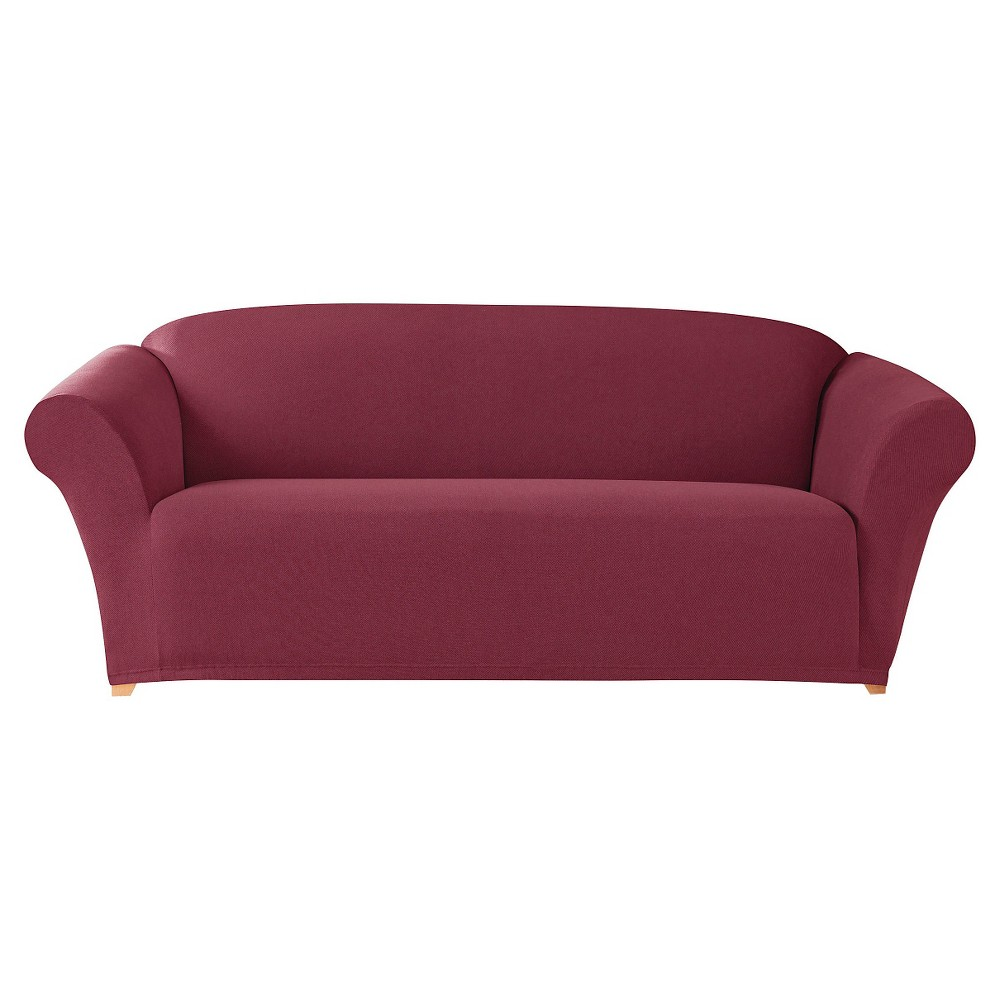 Image of Stretch Twill Sofa Slipcover Burgundy - Sure Fit