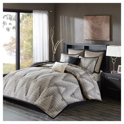Black Shelby Jacquard Comforter Set (Queen)8pc